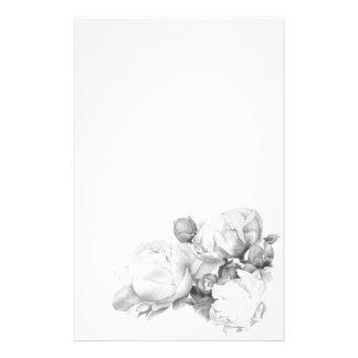 白黒壮大なシャクヤク- 便箋