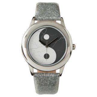 白黒大理石の陰陽 腕時計