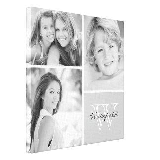 白黒家族のモノグラムの写真のコラージュ キャンバスプリント