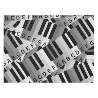 白黒層にされたピアノパターン テーブルクロス