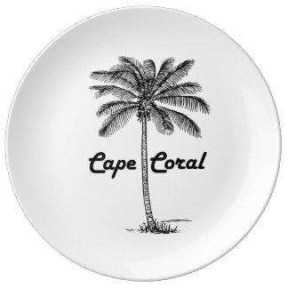 白黒岬の珊瑚及びやしデザイン 磁器プレート