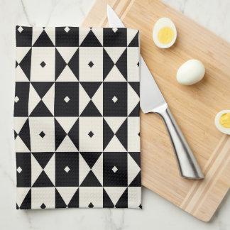 白黒幾何学的なパターン皿タオル キッチンタオル