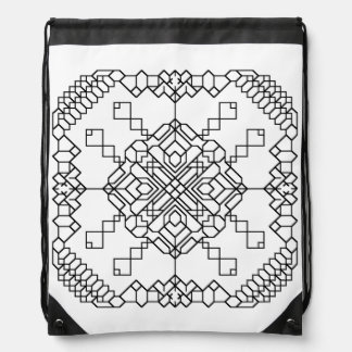 白黒幾何学的なモザイク ナップサック