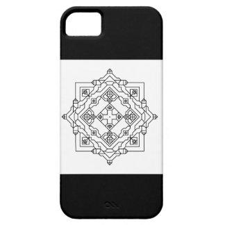 白黒幾何学的なモザイク iPhone SE/5/5s ケース