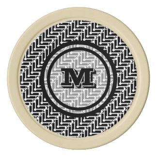 白黒幾何学的なモノグラム ポーカーチップ