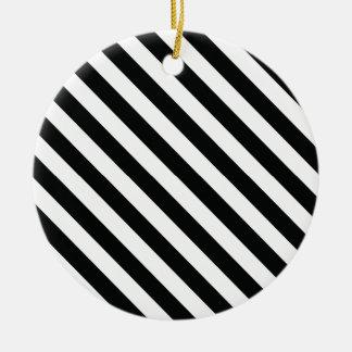 白黒幾何学的なラインパターン セラミックオーナメント