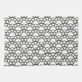 白黒幾何学的な太陽のスケールパターン| キッチンタオル