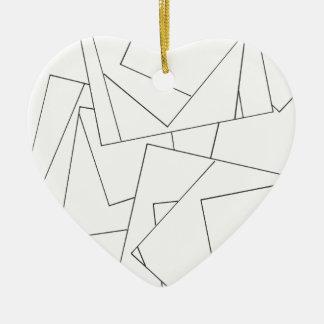 白黒幾何学的-抽象的なインクスケッチ セラミックオーナメント