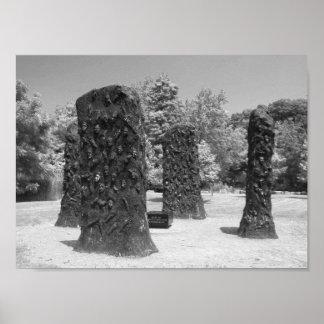 白黒彫刻の写真 ポスター