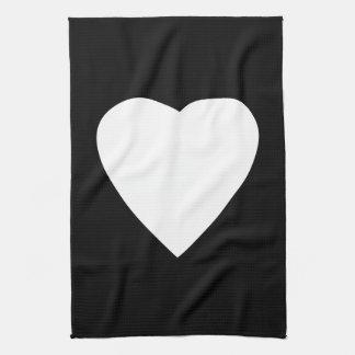 白黒愛ハートの設計 キッチンタオル