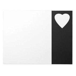 白黒愛ハートの設計 ノートパッド