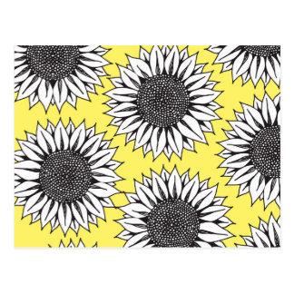 白黒手のスケッチの黄色いヒマワリ ポストカード