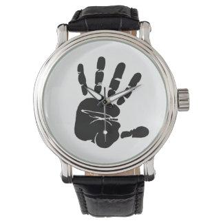 白黒手のプリント 腕時計