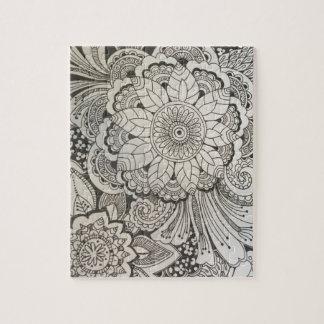 白黒手描きの花柄 ジグソーパズル