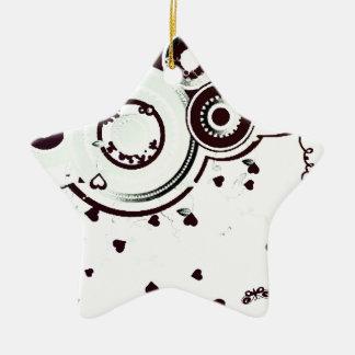 白黒抽象デザイン 陶器製星型オーナメント