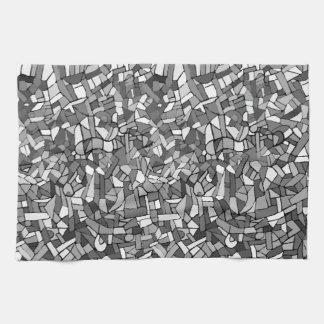 白黒抽象的なモザイク キッチンタオル