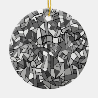 白黒抽象的なモザイク セラミックオーナメント