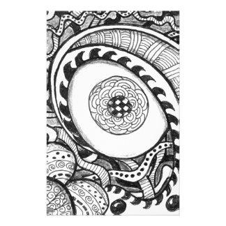 白黒抽象的な目のプリント 便箋