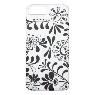 白黒抽象的な花 iPhone 7 PLUSケース