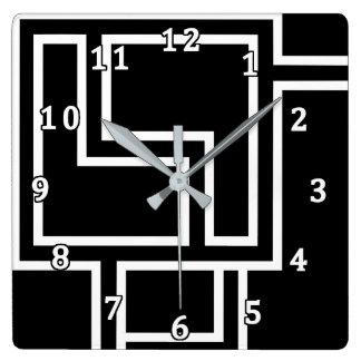 白黒抽象芸術 スクエア壁時計