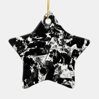 白黒抽象芸術 セラミックオーナメント