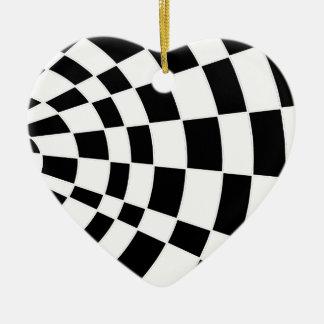 白黒斜めのチェッカーボード セラミックオーナメント