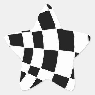 白黒斜めのチェッカーボード 星シール