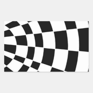 白黒斜めのチェッカーボード 長方形シール