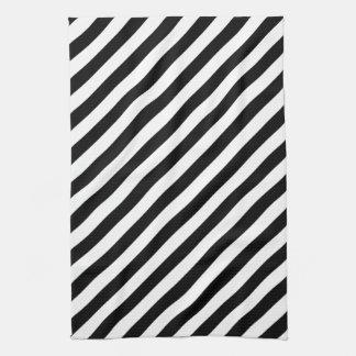 白黒斜めの縞 キッチンタオル