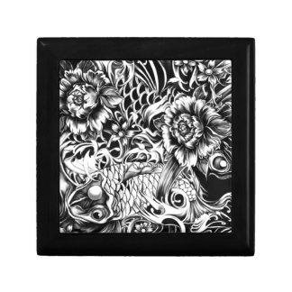 白黒日本のなコイの入れ墨art. ギフトボックス