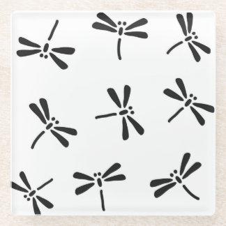 白黒日本のなトンボパターン ガラスコースター