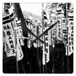 白黒日本のな旗 スクエア壁時計