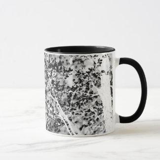 白黒春の群葉のマグ マグカップ