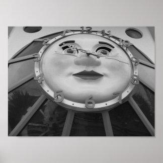 白黒時計の写真 ポスター