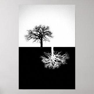 白黒木の壁の装飾 ポスター