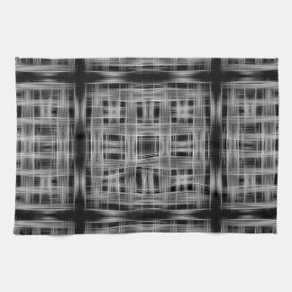 白黒格子図形 キッチンタオル