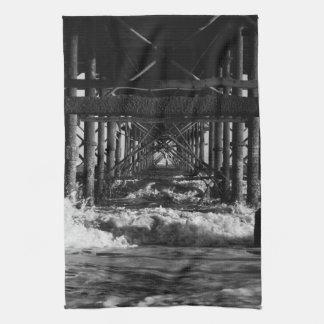 白黒桟橋のふきん キッチンタオル