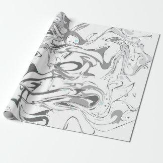 白黒模造のな大理石の質 ラッピングペーパー
