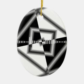 白黒正方形によって逆にされるグラフィック セラミックオーナメント