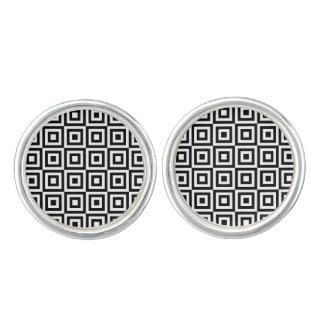 白黒正方形パターンカフスボタン カフブローチ