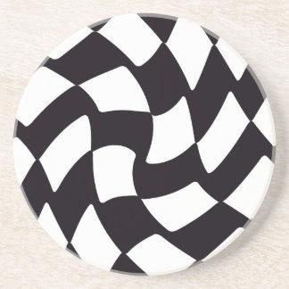 白黒歪められたチェッカーボード コースター