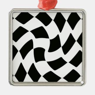 白黒歪められたチェッカーボード メタルオーナメント