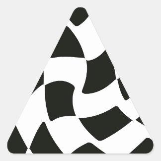白黒歪められたチェッカーボード 三角形シール
