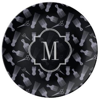 白黒毛のファッション 磁器プレート