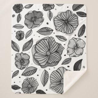 白黒水彩画およびインク花- シェルパブランケット