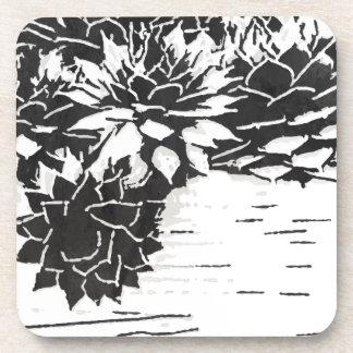 白黒水気が多い植物 コースター