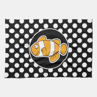 白黒水玉模様のピエロの魚 キッチンタオル
