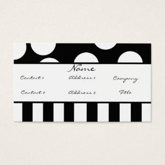 白黒水玉模様のプロフィールカード 名刺