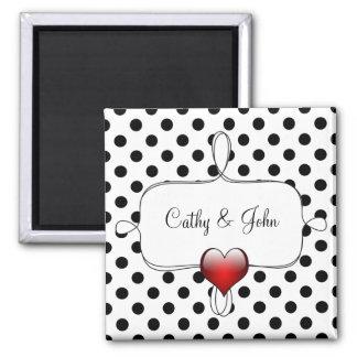 白黒水玉模様の結婚 磁石