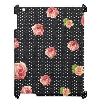 白黒水玉模様の花模様 iPadケース